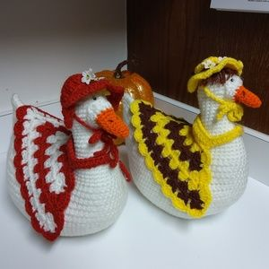 Set Of Two Hand Made Crochet Mother Duck